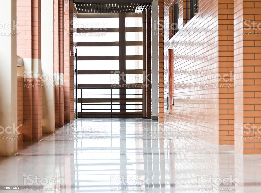high school hallway stock photo