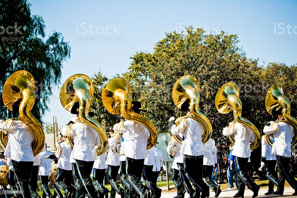 high school marching band (tubas) stock photo
