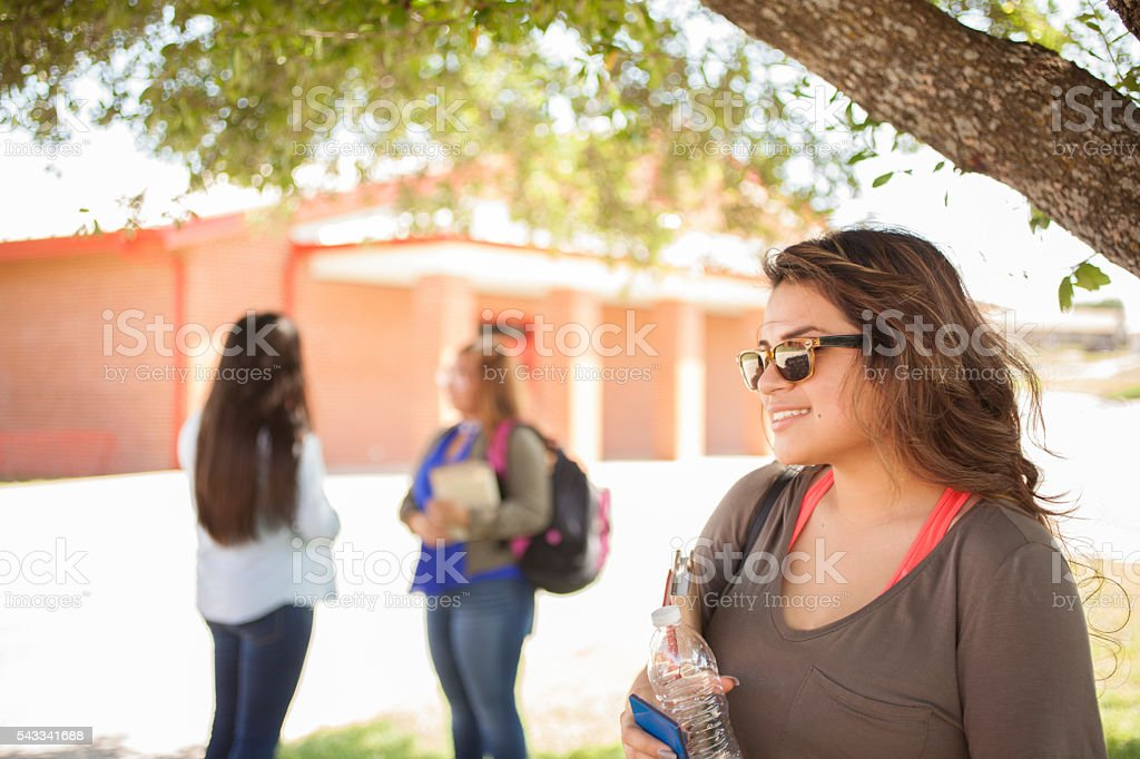 High school or college girls on campus. stock photo