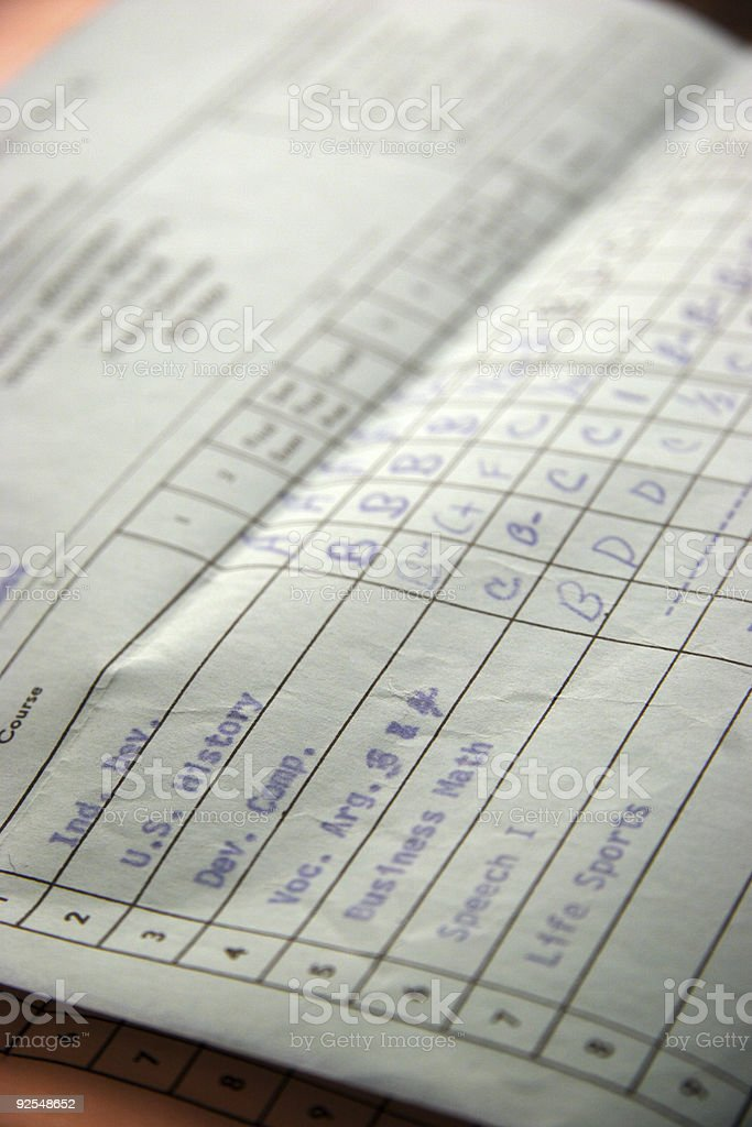 high school report card royalty-free stock photo