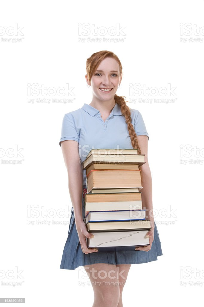 High school schoolgirl student with stack books royalty-free stock photo