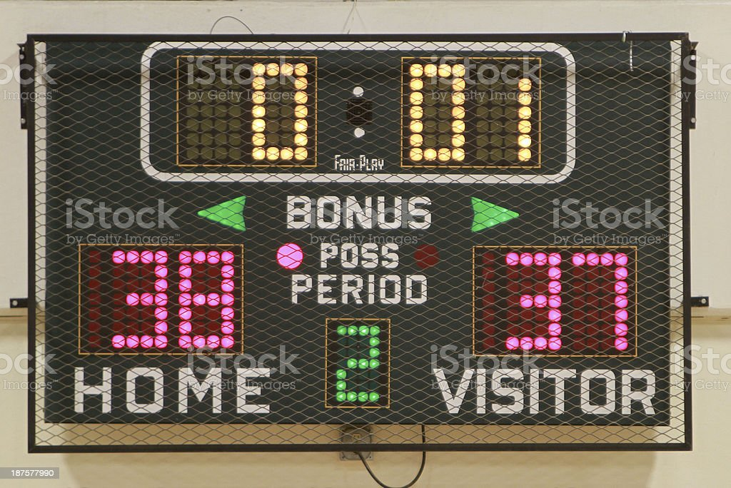 High school scoreboard showing time, score and period stock photo