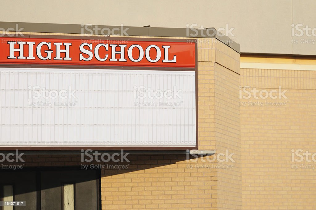 High school sign with marquee and copy space stock photo