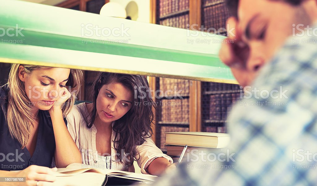 High School student in classic style library royalty-free stock photo