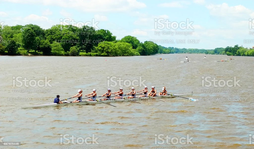 High School student rowing team having their daily practice stock photo
