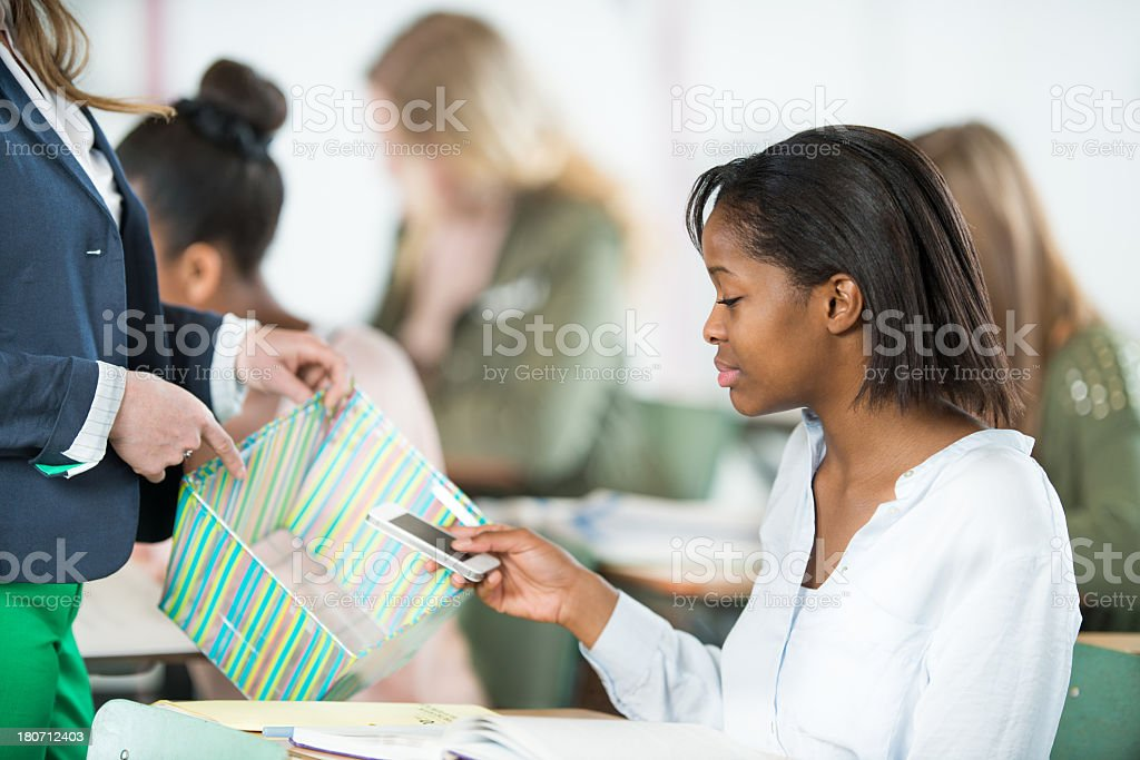 High School Student Texting royalty-free stock photo