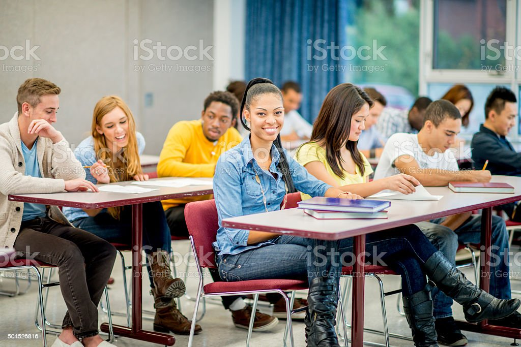 High School Students at Their Desks stock photo