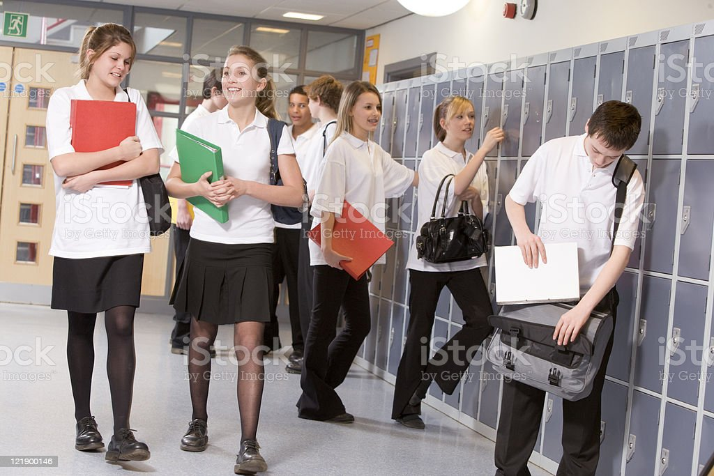 High school students by lockers royalty-free stock photo