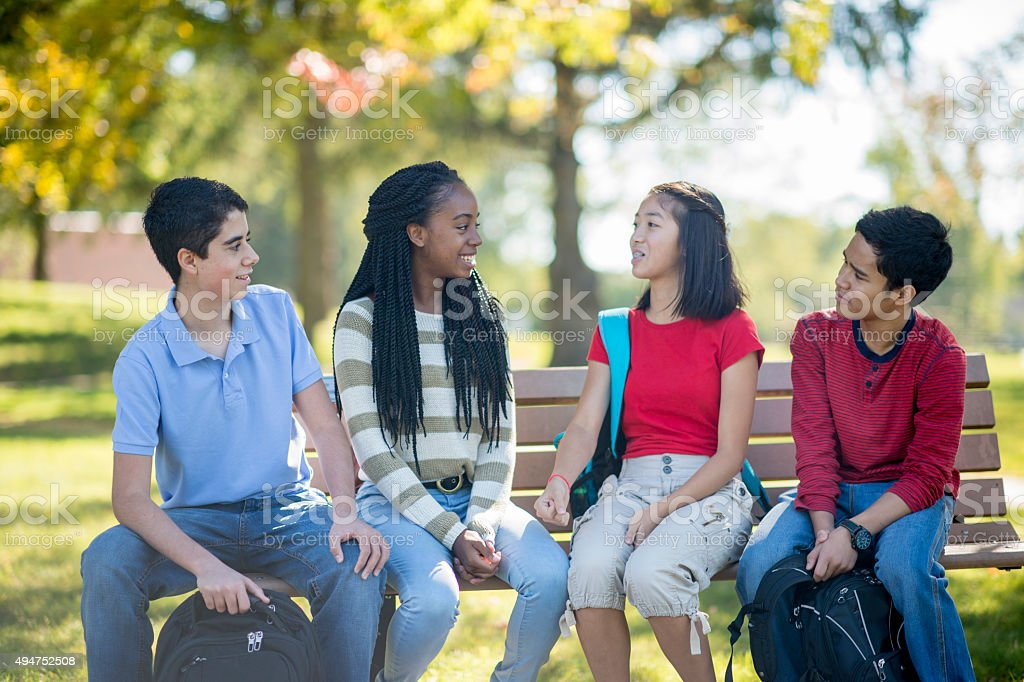 High School Students Chatting on a Bench stock photo