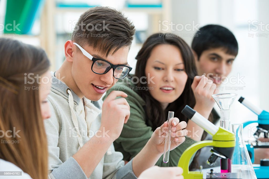 High School students. Group of students working together stock photo