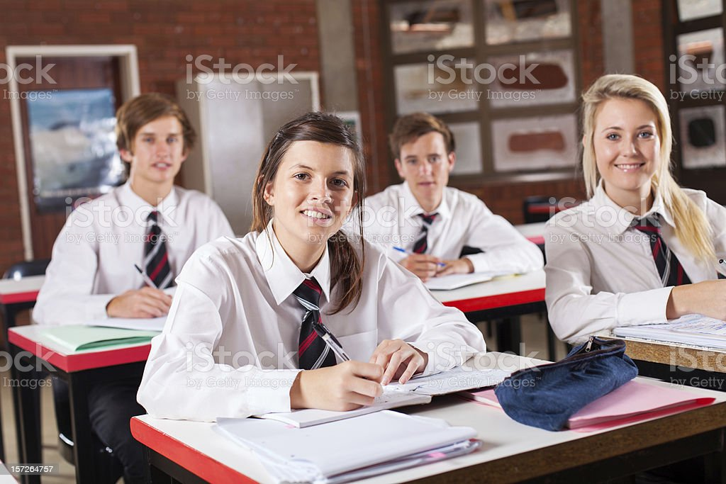 high school students in classroom stock photo