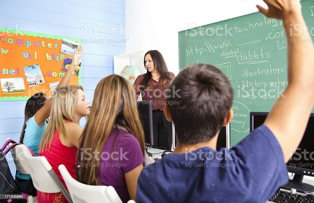 High School students in computer lab with instructor royalty-free stock photo