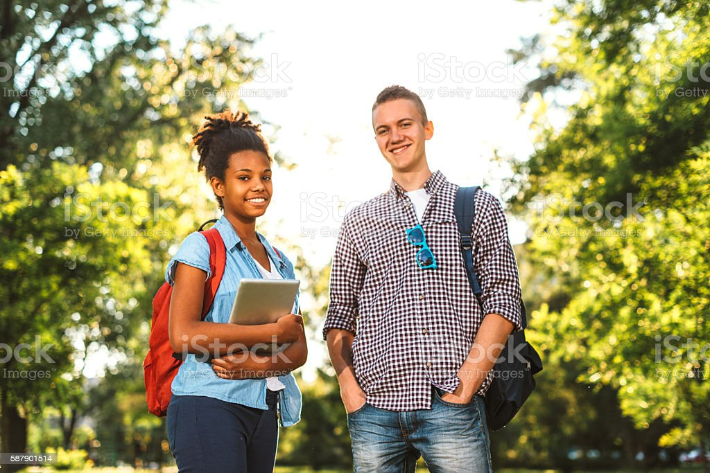 High school students ready for new schol year stock photo