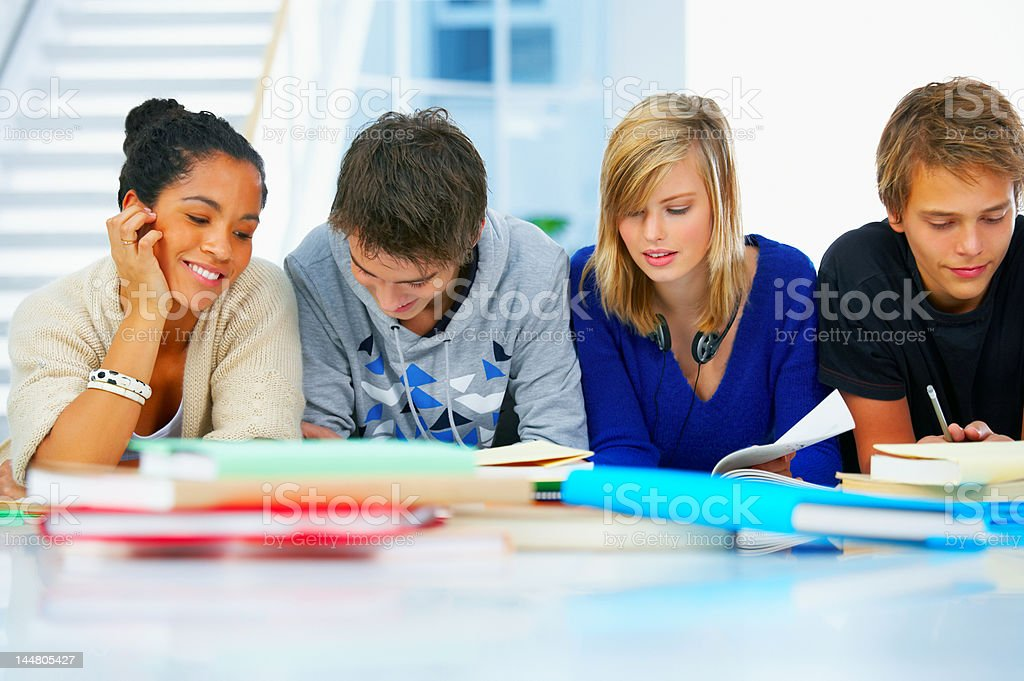 High school students studying in a group royalty-free stock photo