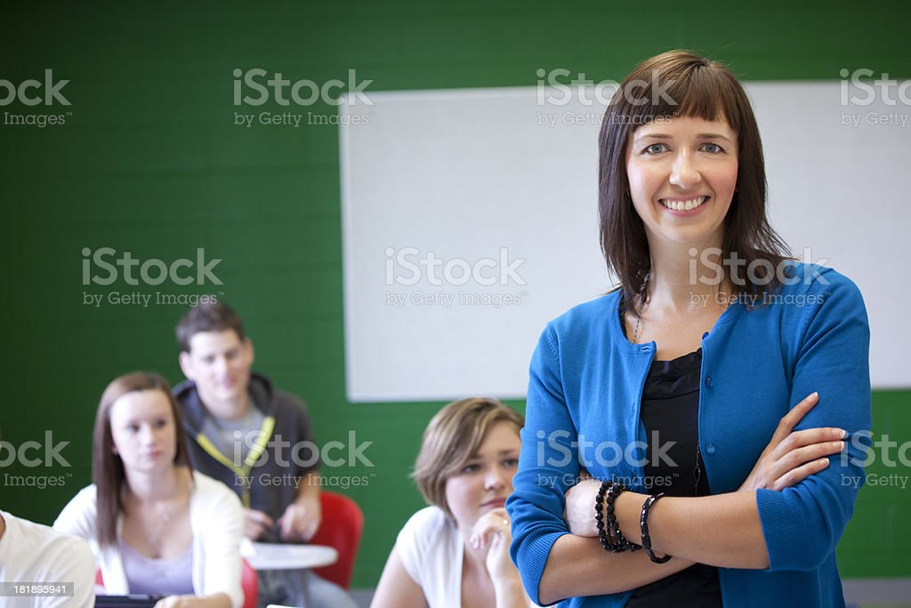 High School Teacher and Students royalty-free stock photo