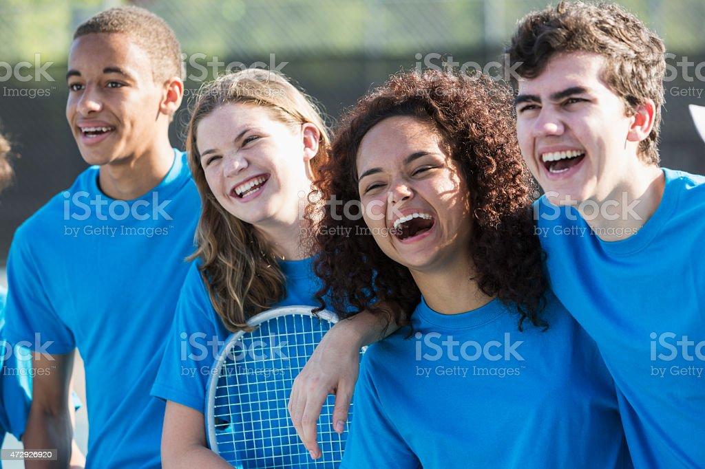 High school tennis team stock photo