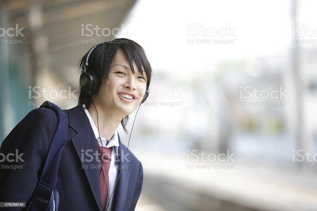 High scool student wearing headphone royalty-free stock photo