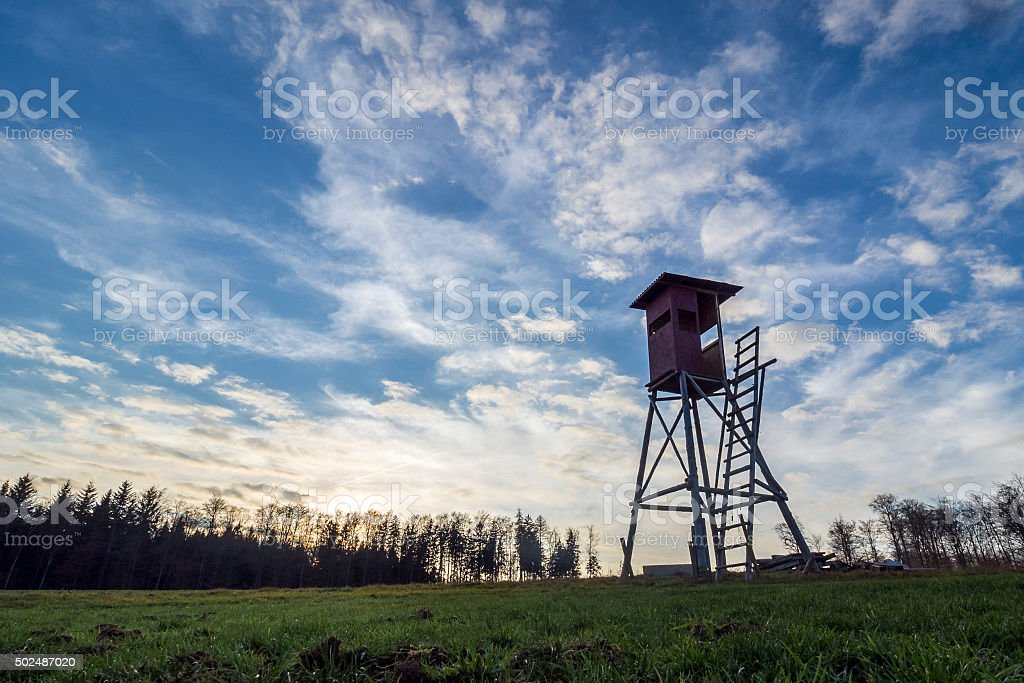 high seat at a clearing stock photo