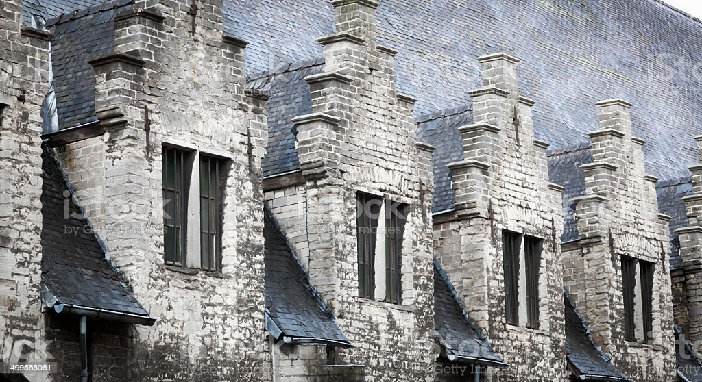 High section view of an old conference hall, Ghent, Belgium stock photo