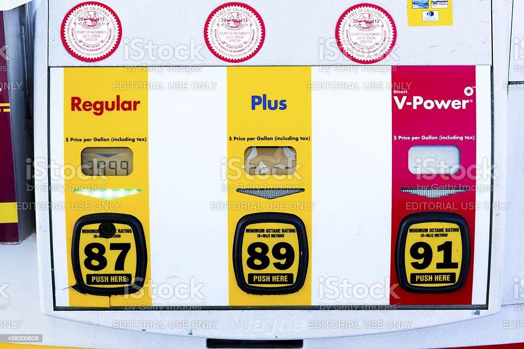 High Shell gas price at pump in Sacramento, California. royalty-free stock photo