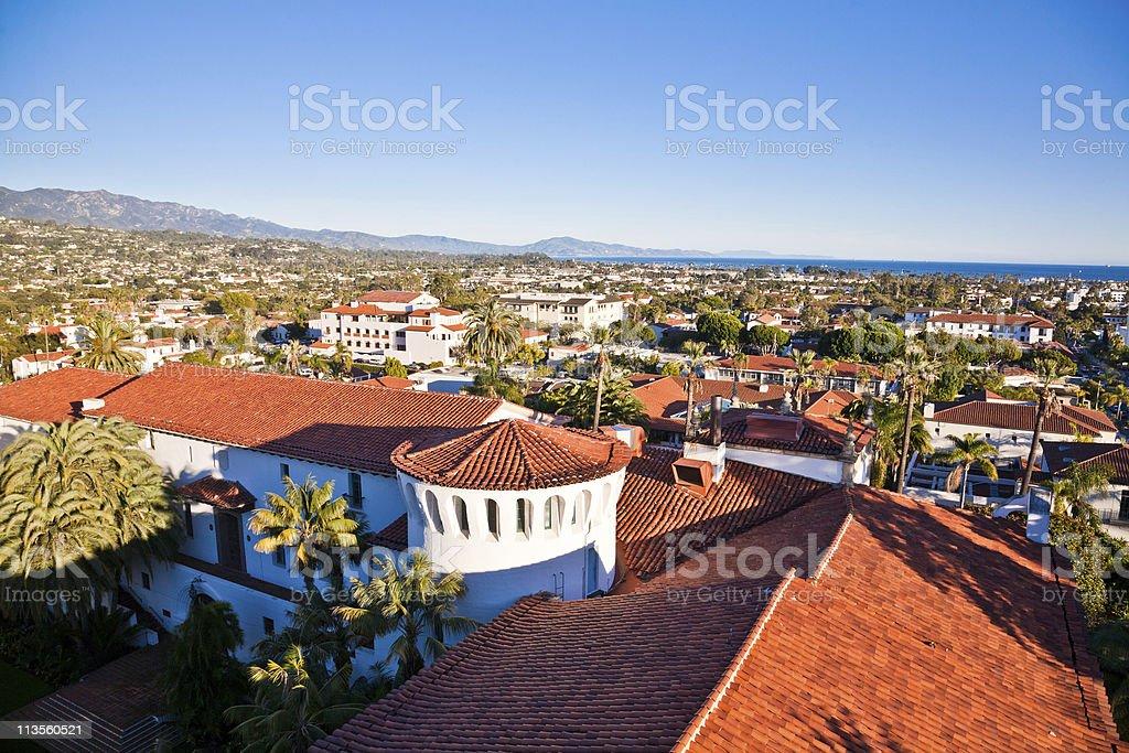 High shot of Santa Monica town homes stock photo