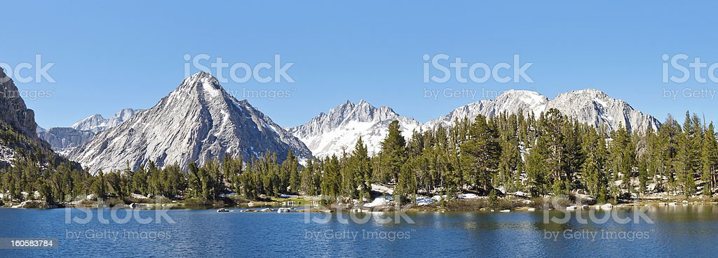 High Sierra Alpine Lake Panorama stock photo