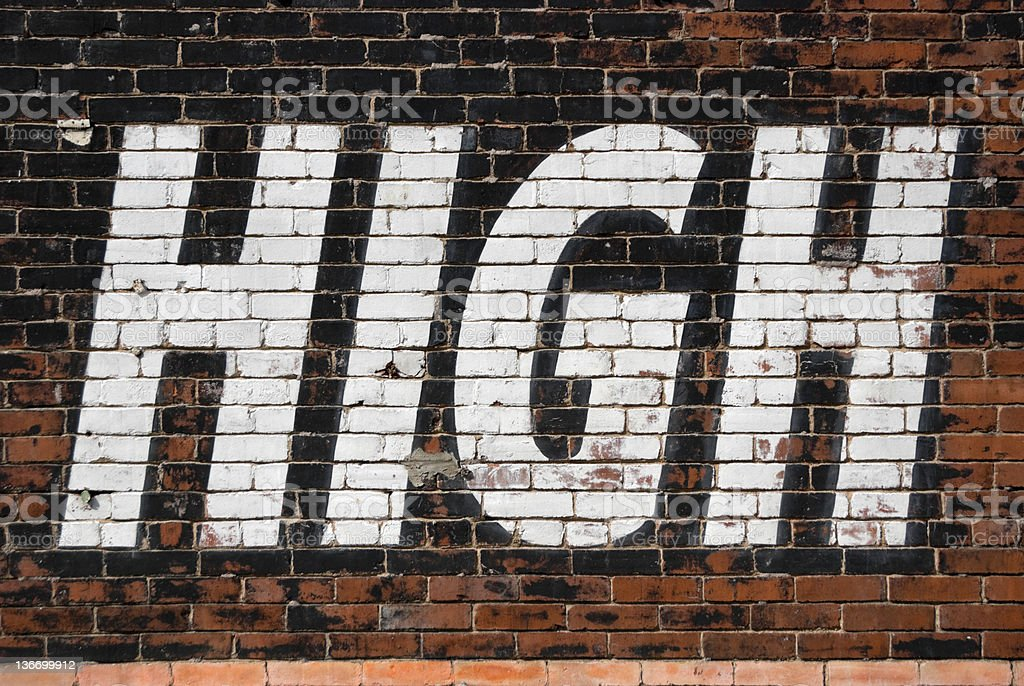 High Sign Text on Large Old Outdoor Billboard stock photo