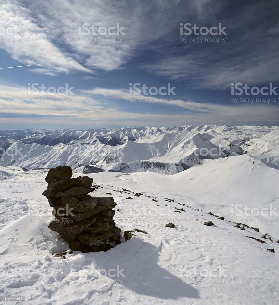 High Snow Mountains under cloudy sky royalty-free stock photo