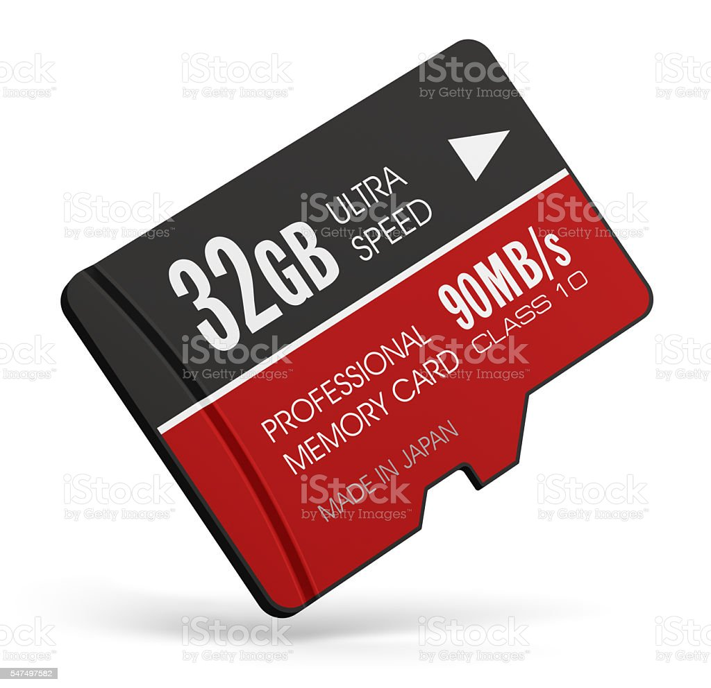 High speed 32GB MicroSD flash memory cards stock photo