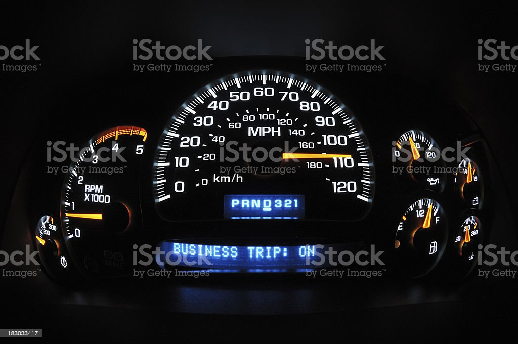 High speed business trip illumited instrument panel royalty-free stock photo
