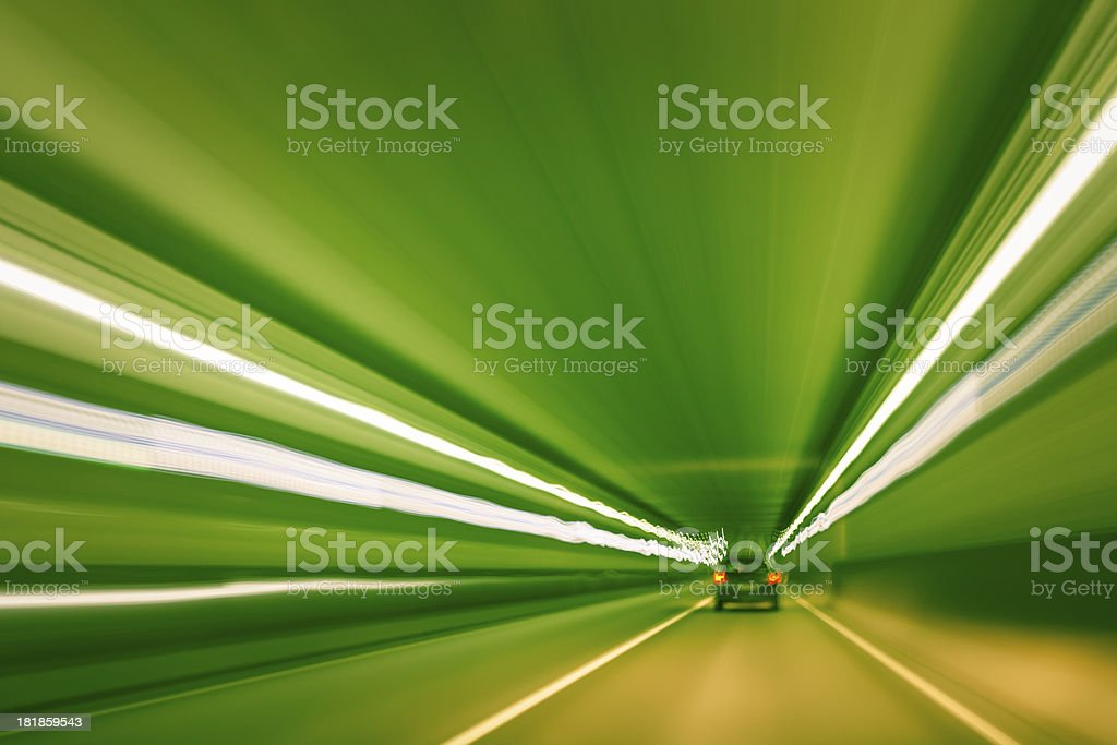 High speed driving through a tunnel during night time royalty-free stock photo