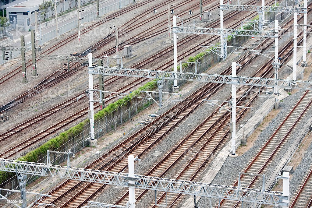 High Speed Electric Train Tracks and Catenary System stock photo