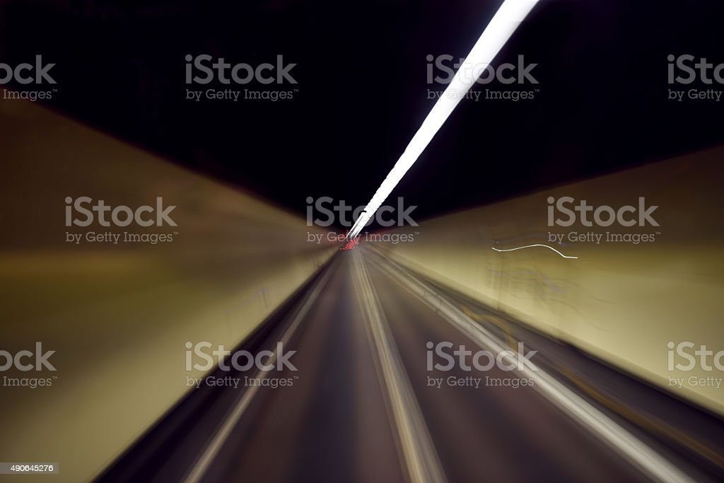High speed in a long tunnel stock photo