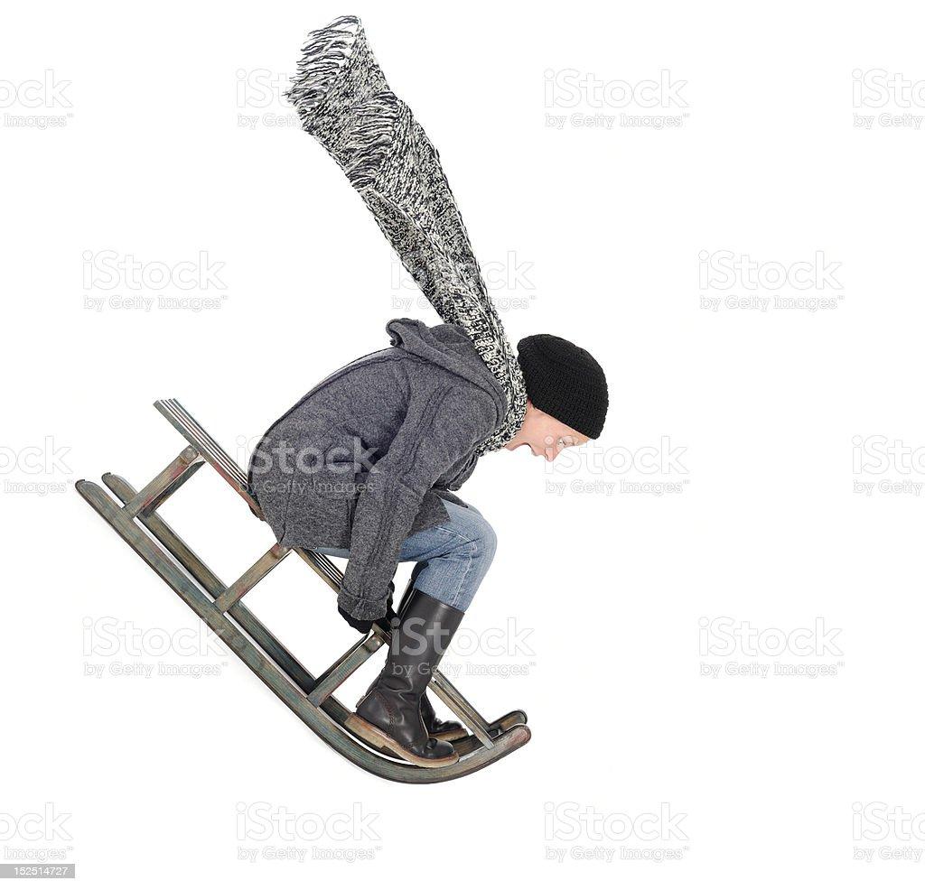 high speed sledding stock photo