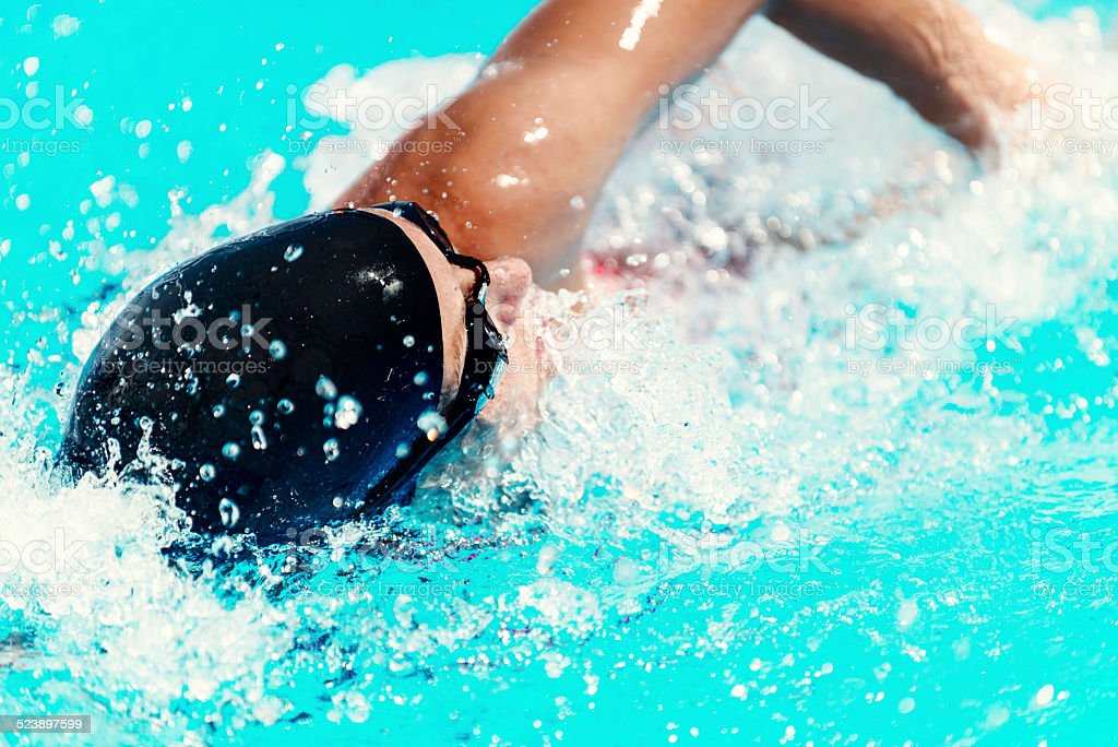 High speed swimming stock photo