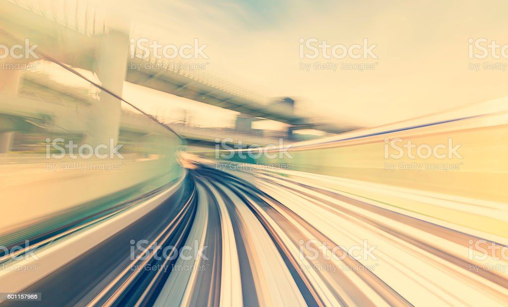 High speed technology concept on a Monorail stock photo