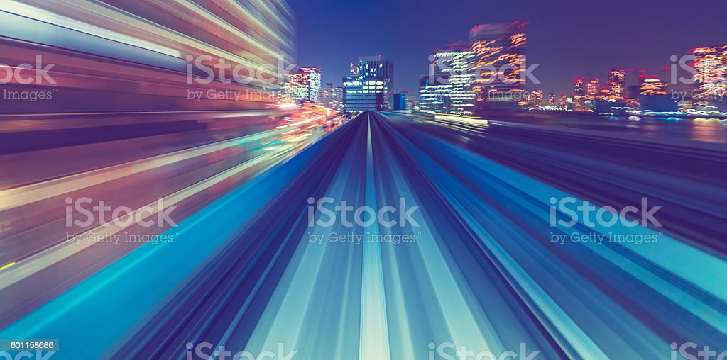 High speed technology concept via a Tokyo monorail stock photo