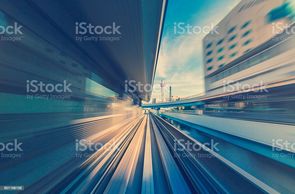 High speed technology concept via the Kobe Monorail stock photo