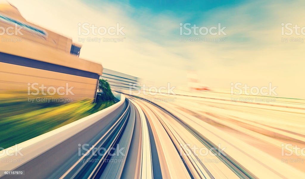 High speed technology concept via the Kobe Portliner Monorail stock photo