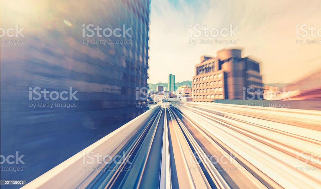 High speed technology concept via the Monorail stock photo