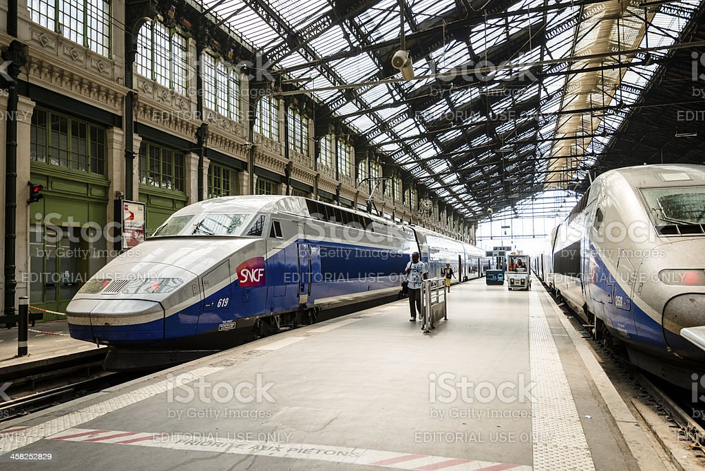 High speed TGV trains parked at Gare de Lyon Station stock photo