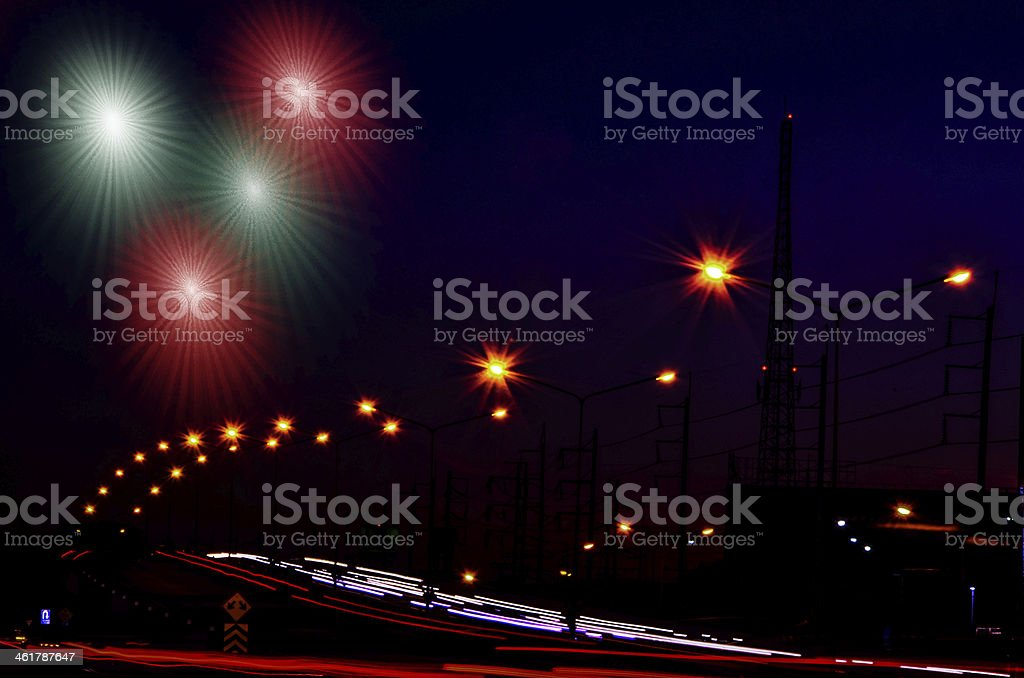 High speed traffic and blurred light stock photo