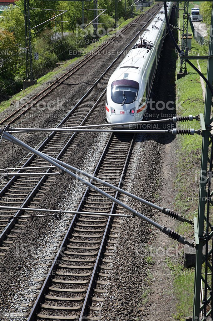 ICE High speed train approaching stock photo