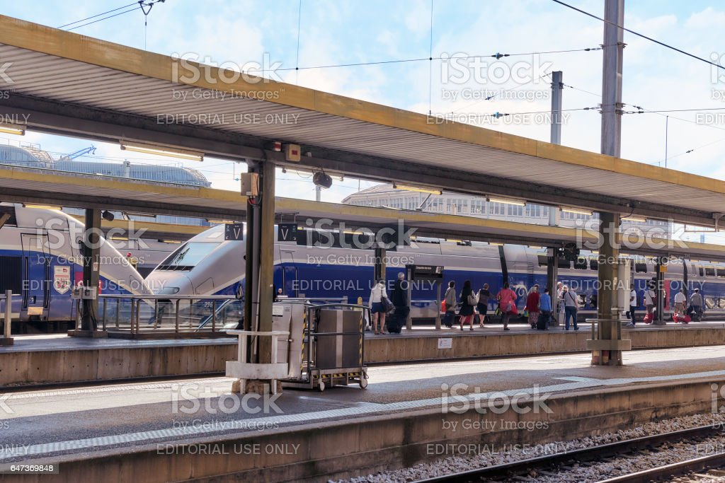 High speed train at the North Railways station(Gare de Nord). stock photo