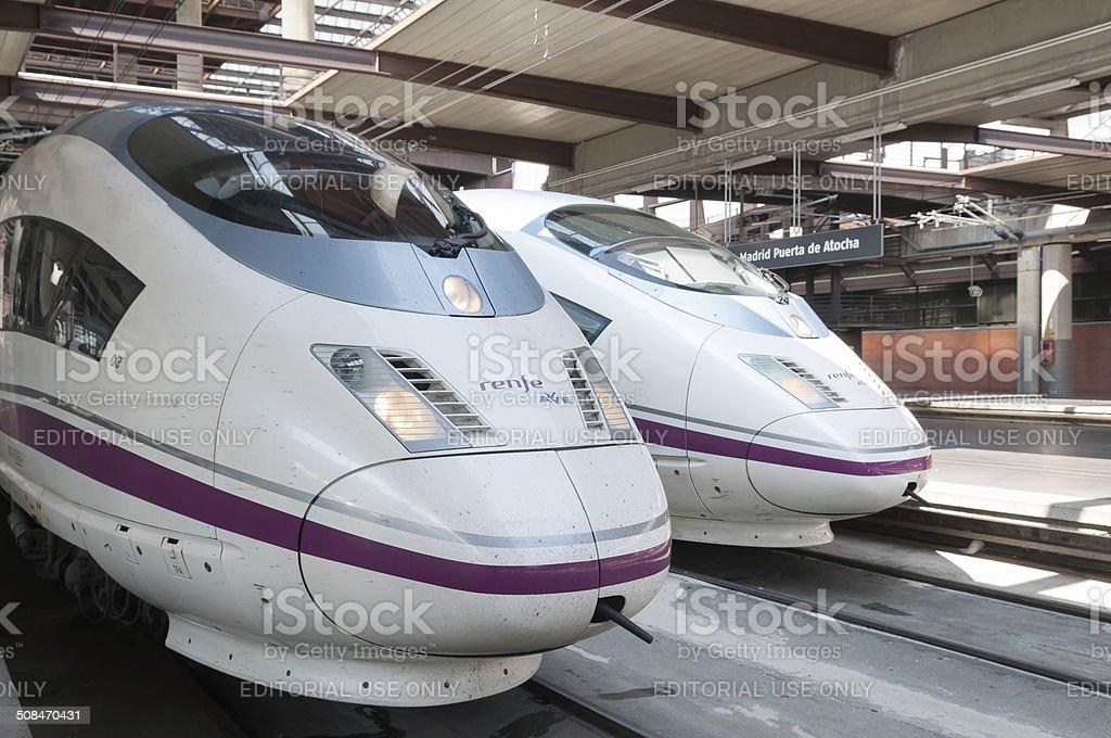 High speed train AVE Atocha Station Madrid Spain stock photo