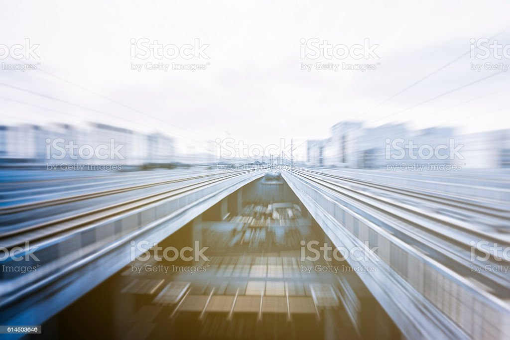 High speed train by the railway station stock photo