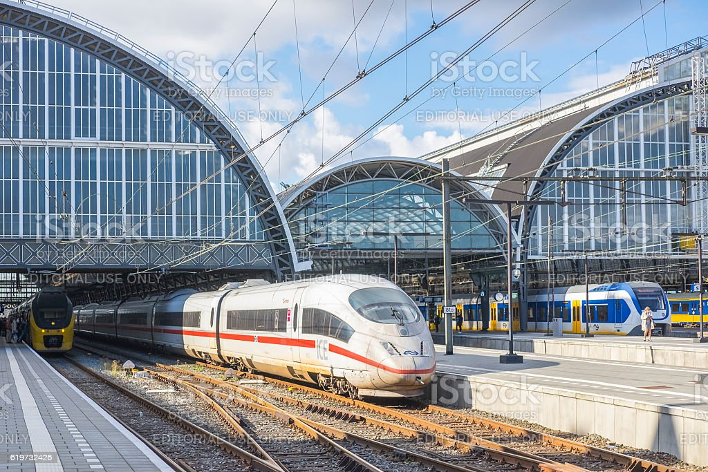 High speed train ICE -Intercity Express- arriving in Amsterdam stock photo