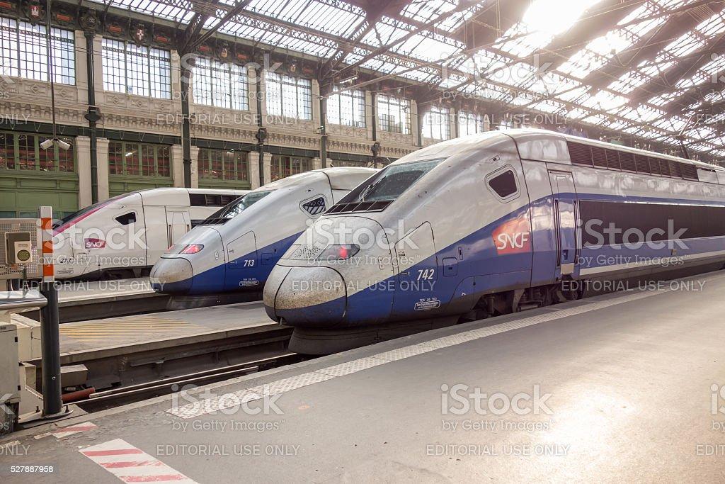 TGV high speed train in gare de Lyon Paris, France stock photo