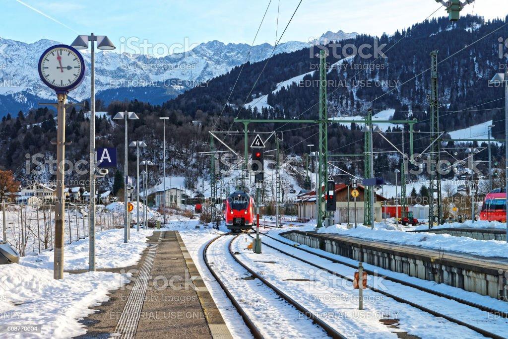 High speed train in Garmisch Partenkirchen Germany stock photo
