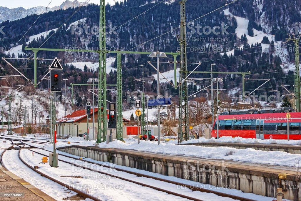 High speed train in Garmisch Partenkirchen in Germany stock photo